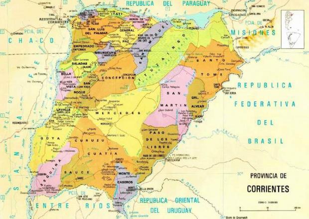 Mapa de la Provincia de Corrientes, Argentina