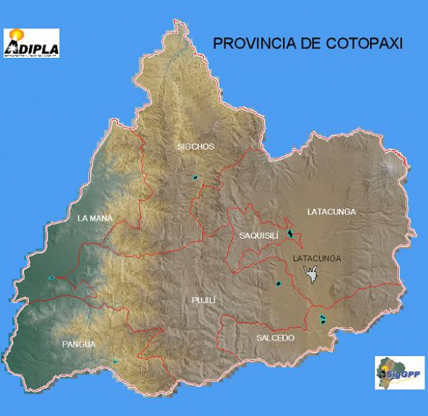 Mapa de la Provincia de Cotopaxi, Ecuador