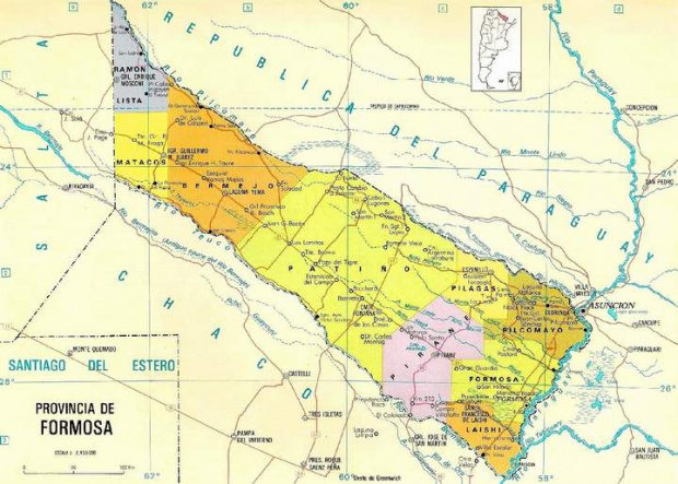 Mapa de la Provincia de Formosa, Argentina