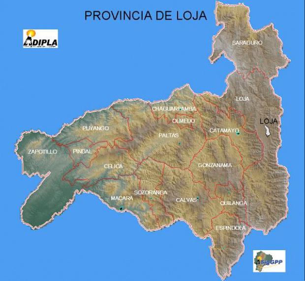 Mapa de la Provincia de Loja, Ecuador