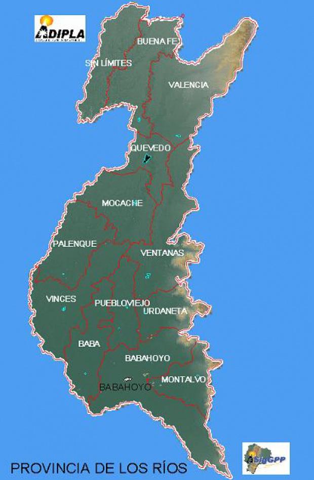 Mapa de la Provincia de Los Ríos, Ecuador