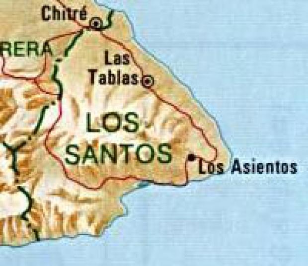 Mapa de la Provincia de Los Santos, República de Panamá