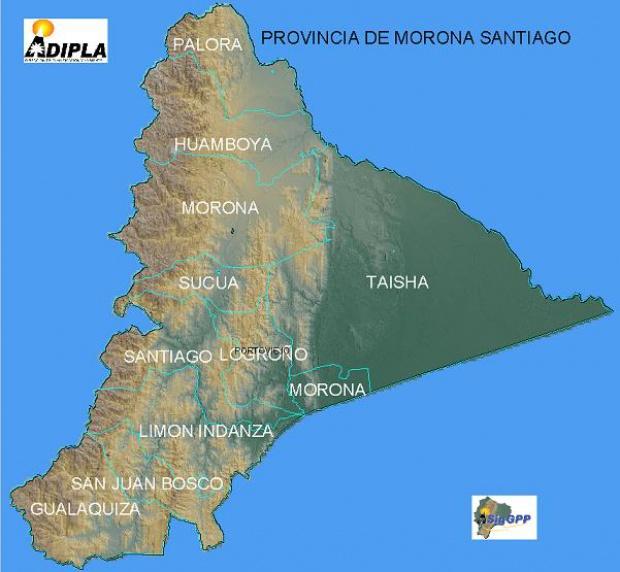 Mapa de la Provincia de Morona Santiago, Ecuador