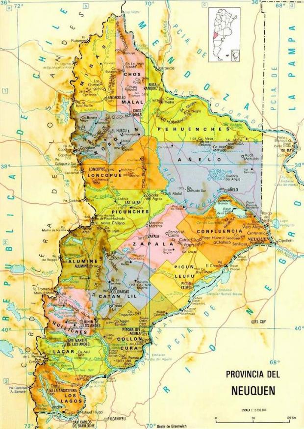 Mapa de la Provincia de Neuquén, Argentina