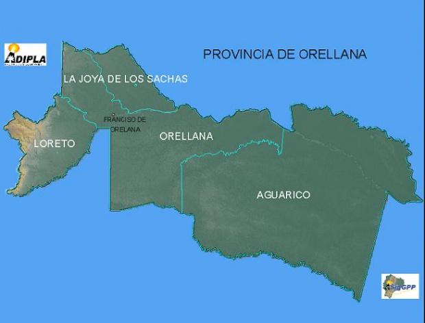 Mapa de la Provincia de Orellana, Ecuador