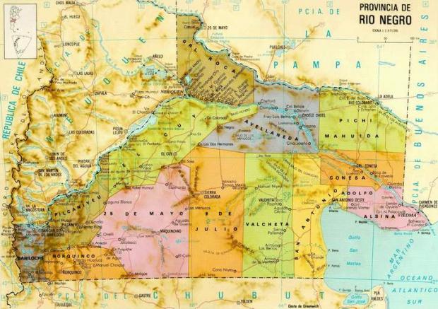 Mapa de la Provincia de Rio Negro, Argentina