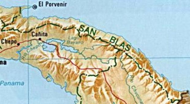 Mapa de la Provincia de San Blas, República de Panamá
