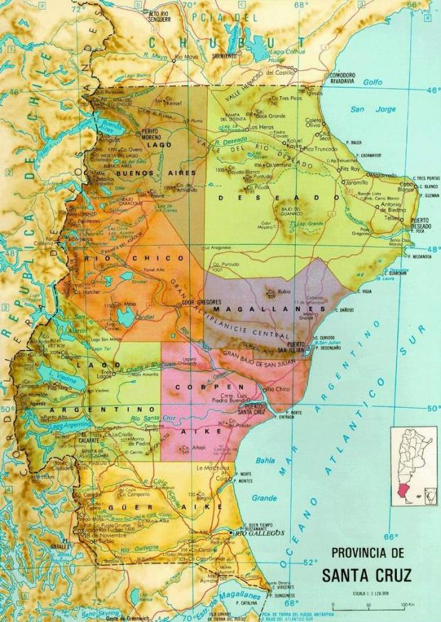 Mapa de la Provincia de Santa Cruz, Argentina