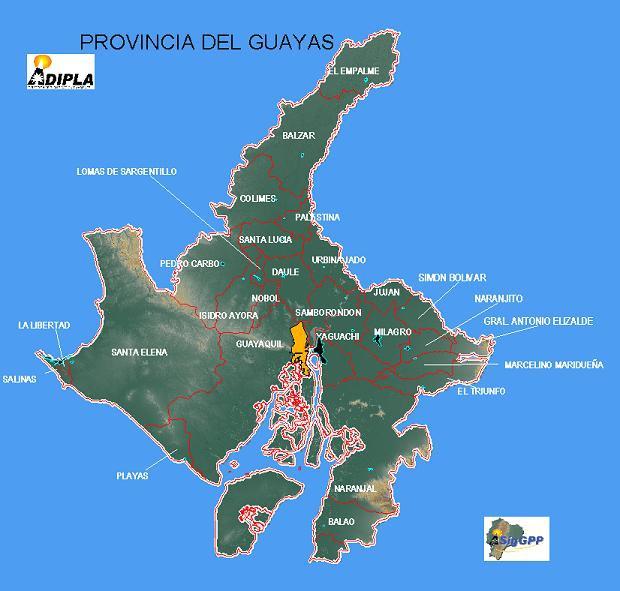 Mapa de la Provincia del Guayas, Ecuador