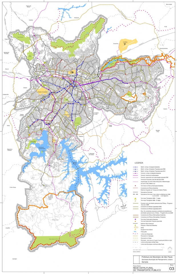 São Paulo City Public Transport Structural Network Map, Brazil
