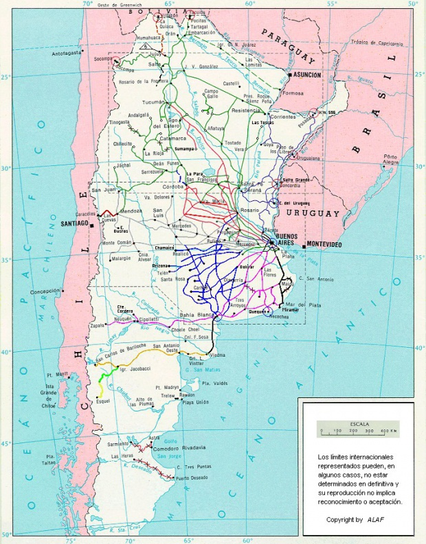 Railway Network Map, Argentina