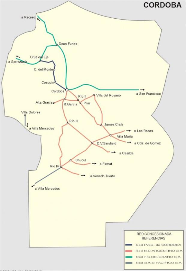 Mapa de la Red Ferroviaria de la Prov. Córdoba, Argentina