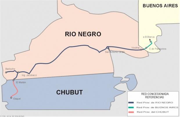 Mapa de la Red Ferroviaria de la Prov. Río Negro, Argentina
