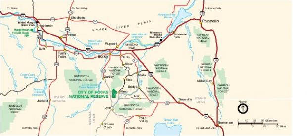 Mapa de la Región de City of Rocks National Reserve, Idaho, Estados Unidos