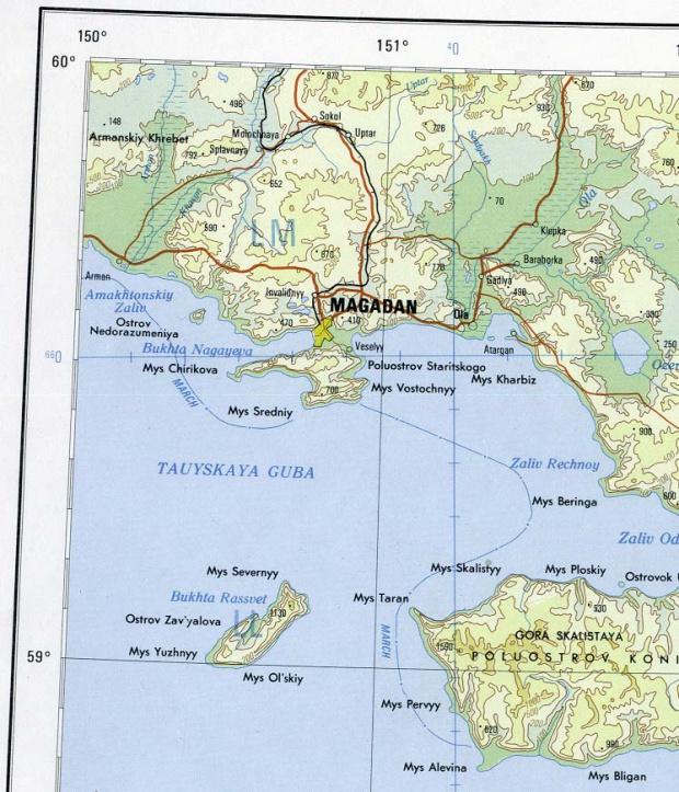 Mapa de la Región de Magadán