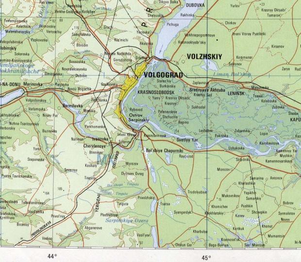 Mapa de la Región de Volgogrado