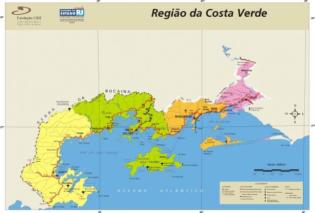Mapa de la Region de la Costa Verde, Edo. Rio de Janeiro, Brasil