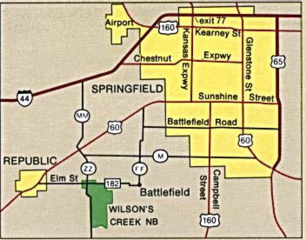 Mapa de la Región del Campo de Batalla Nacional Wilson's Creek, Missouri, Estados Unidos