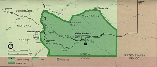 Coronado National Memorial Area Map, Arizona, United States