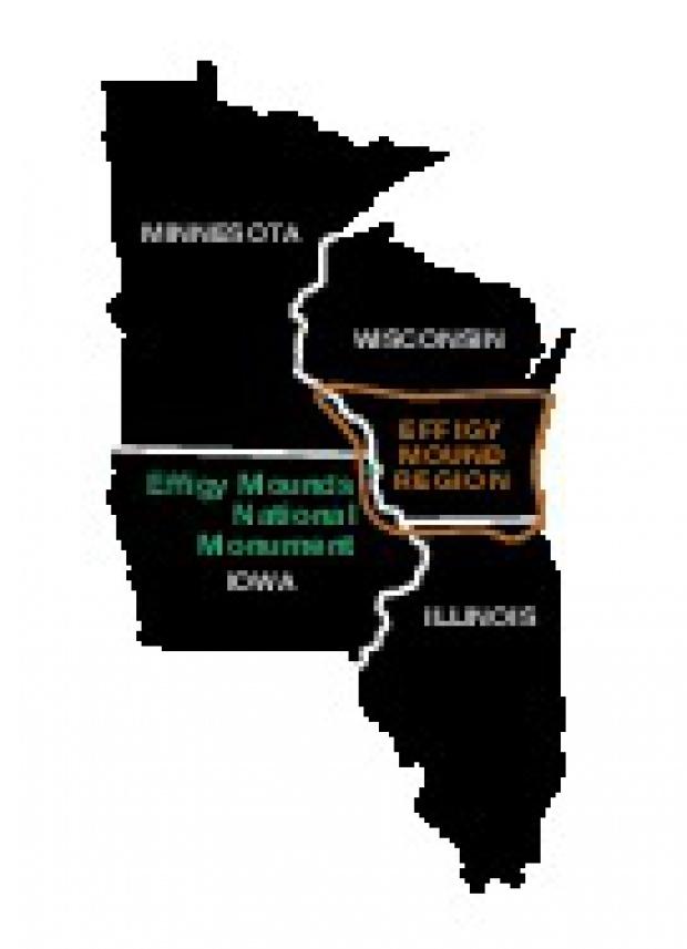 Mapa de la Región del Monumento Nacional Effigy Mounds, Iowa, Estados Unidos