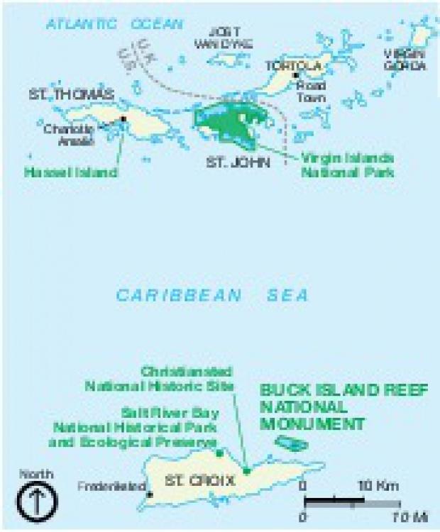 Mapa de la Región del Monumento Nacional de Buck Island Arrecife, Islas Vírgenes, Estados Unidos