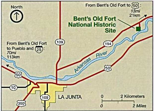 Bent's Old Fort National Historic Site Area Map, Colorado, United States