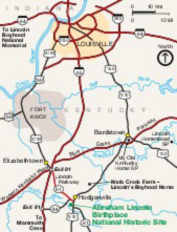 Mapa de la Región del Sitio Histórico Nacionall Lugar de Nacimiento de Abraham Lincoln, Kentucky, Estados Unidos