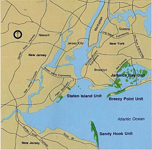 Gateway National Recreation Area Map, New York and New Jersey, United States