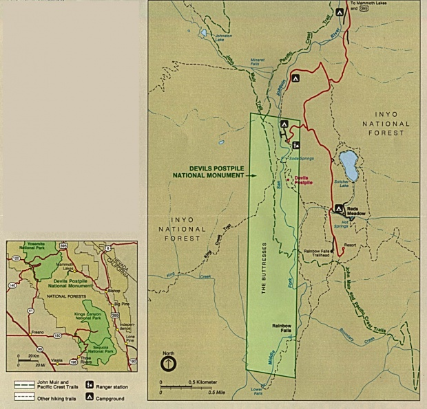 Park and Area Maps of Devils Postpile National Monument, California, United States