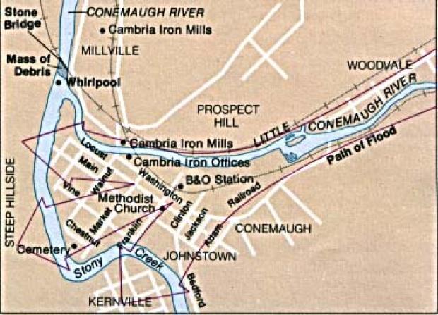 Mapa de la Ruta de las Inundaciones de Johnstown, Pensilvania, Estados Unidos
