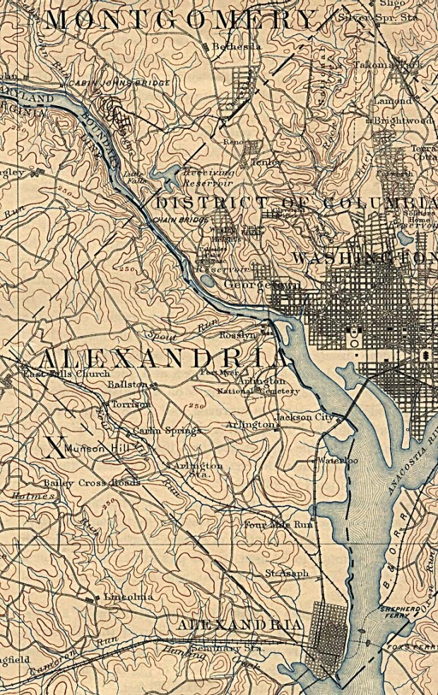 Map of Washington D.C. Western Section with Alexandria, Virginia 1894