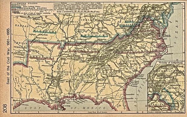 Mapa de las Bases Territoriales de la Guerra Civil Estadounidense 1861 - 1865