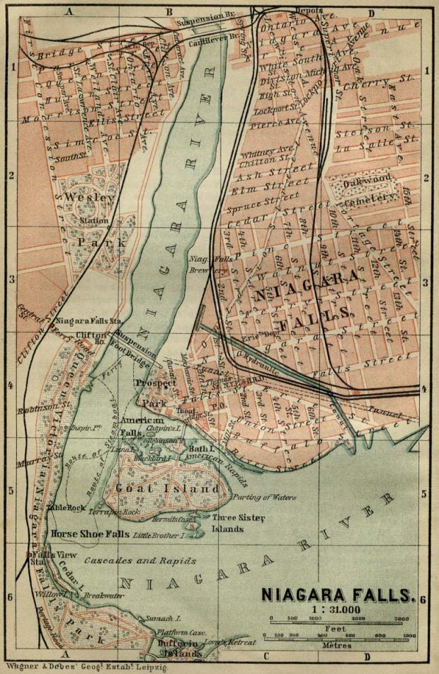 Mapa de las Cataratas del Niágara, Estados Unidos - Canadá 1894