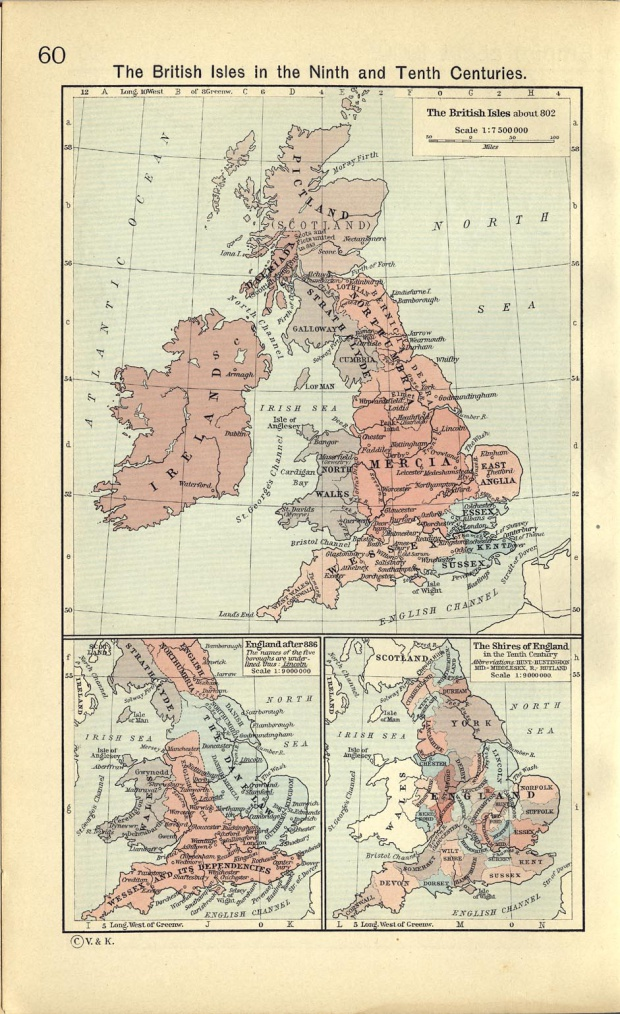 Map of the Shires of England in the Tenth Century