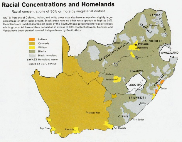 South Africa Racial Concentrations and Homelands Map 1979