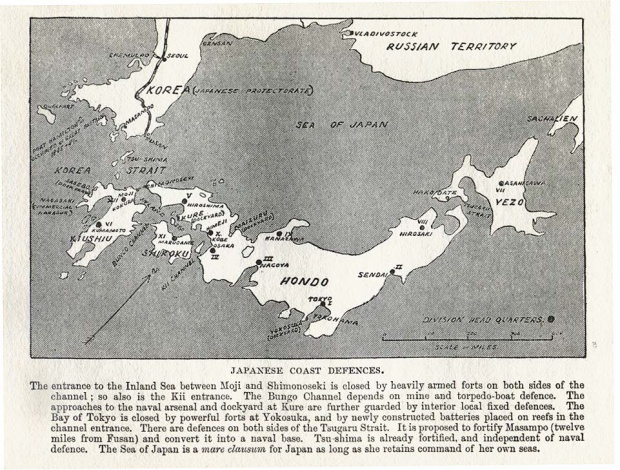 Coastal Defences Map, Japan 1907