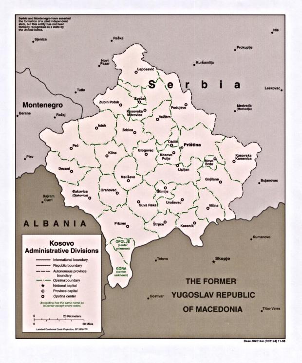 Kosovo Administrative Divisions Map