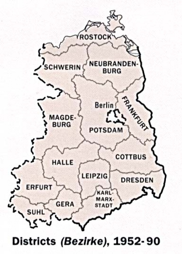 Former East Germany Administrative Divisions Map, August 1990