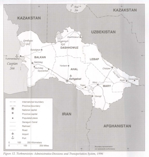Turkmenistan Administrative Divisions and Transportation System Map