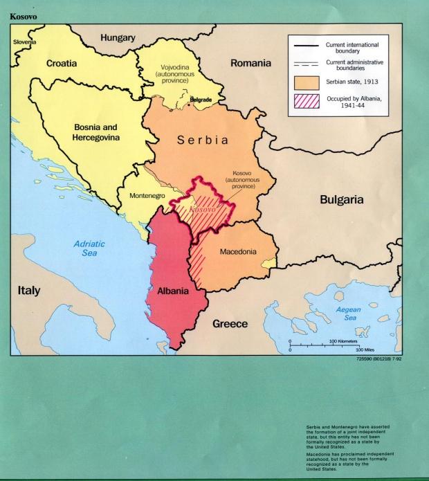 Mapa de las Fronteras Históricas de Kosovo 1913  - 1992