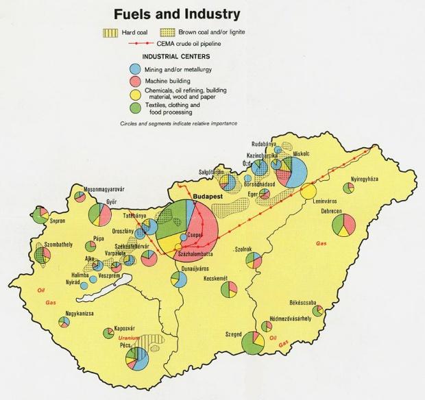 Mapa de las Industrias de Hungría