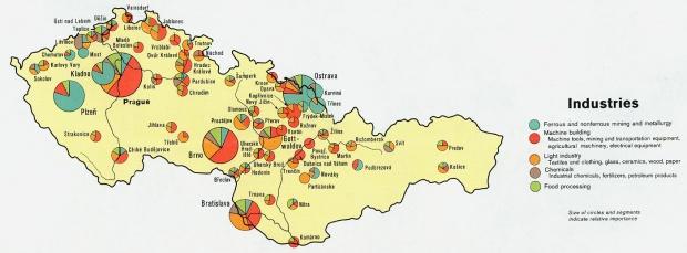 Mapa de las Industrias de las Repúblicas Checa y Eslovaca