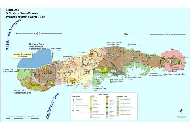 Mapa de las Instalaciones Navales de EE.UU. En la Isla de Vieques, Puerto Rico