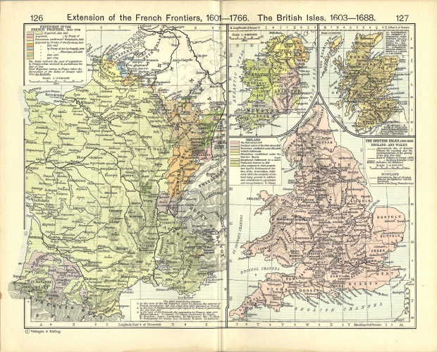 Map of the British Isles 1603  - 1688