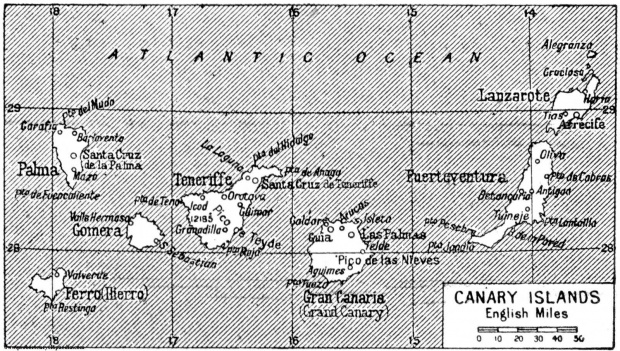 Map of Canary Islands 1922