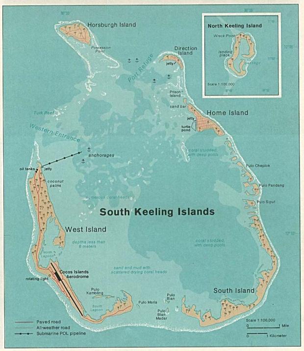 Mapa de las Islas Cocos, Océano Índico, Australia