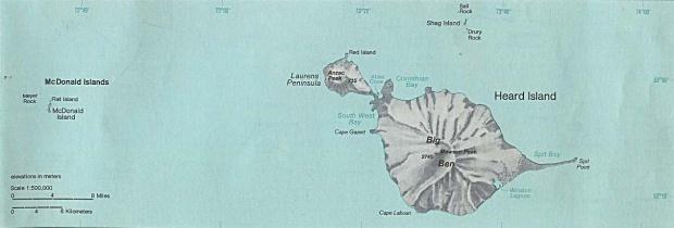 Mapa de las Islas Heard y McDonald, Océano Índico, Australia