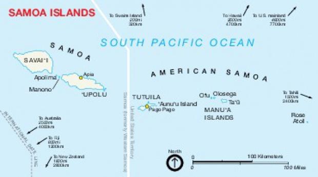 Mapa de las Islas Samoa