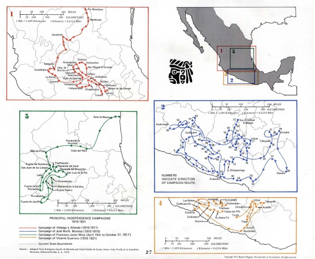Map of Principal Independence Campaigns, Mexico 1810 - 1821