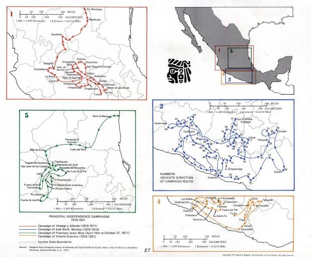 Mapa de las Principales Campañas de la Independencia, México 1810 - 1821